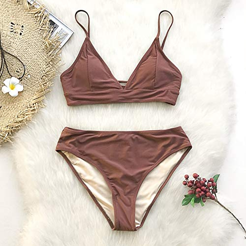 - LTWAAXP Bikini Brown Lace-Up Bikini Sets Women Triangle Mid Waist Swimsuits Plain Beach Bathing Suit Swimwear,L