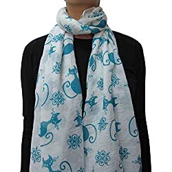 Lina & Lily Cat Kitten Print Women's Scarf Lightweight (White+Green)