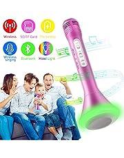 Microfono Karaoke Wireless, Portatile Karaoke Bambino Altoparlante Microfono Bluetooth Microfono Wireless Senza Fili con Altoparlante per Cantare Ragazzi Ragazze Child iPhone Andriod iOS PC