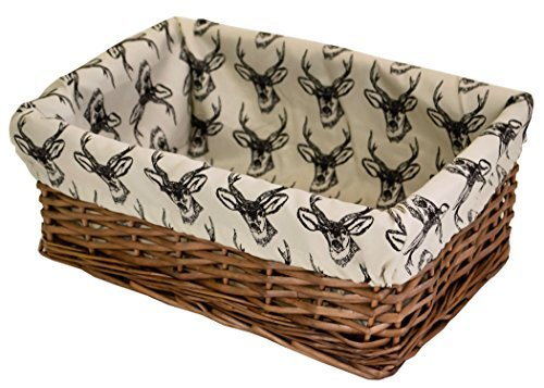 east2eden Brown Wicker Shallow Storage Basket & Line Drawn Stag Liner in Choice of Sizes & Deals (Large) by east2eden