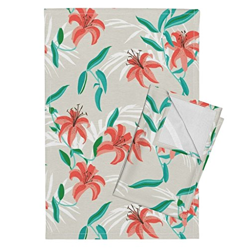Roostery Tiger Lily Tea Towels Tiger Lily Coastal Tropical Flower Floral Holli Zollinger by Holli Zollinger Set of 2 Linen Cotton Tea Towels