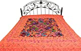 Bedspread from Gujarat with Embroidered Animals - Pure Cotton - Color Sugar Coral Color