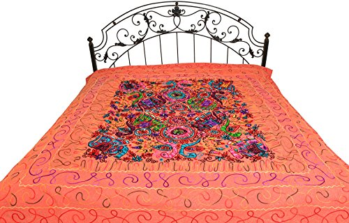 Bedspread from Gujarat with Embroidered Animals - Pure Cotton - Color Sugar Coral Color by Exotic India