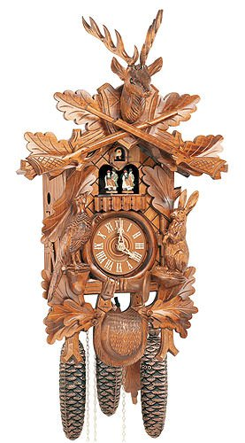 8-Day Deer Head Black Forest House Cuckoo Clock