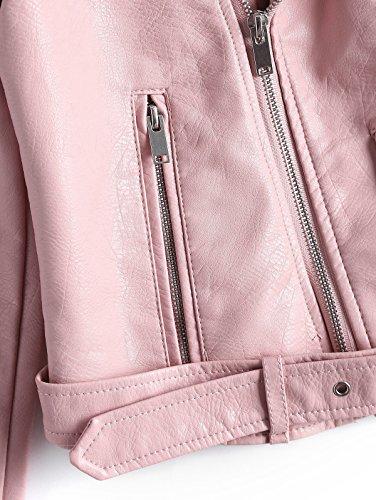 Leather Biker Down Pink CharMma Fit Turn Moto Women's Faux Collar up Zip Light Slim Jacket zzWP6Bg