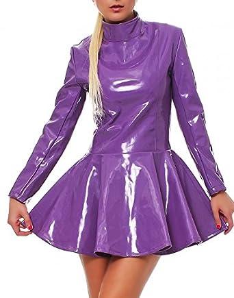 Lackkleid Vinyl Lack Qualität Kleid PVC ausgestellt langarm lila ...