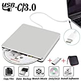 External DVD CD Drive USB3.0 NOLYTH USB C Superdrive DVD+/-RW CD+/-RW Writer Burner Player with Aluminum alloy for Mac/Macbook Pro/Air/Laptop/Windows(Silver)