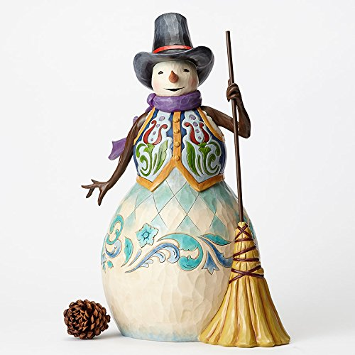 Jim Shore Heartwood Creek Snowman with Broom Statue