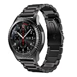 Paymenow Stainless Steel Watch Band Replacement Band Wrist Strap Wristband Replacement Strap Bracelet for Samsung Gear S3 Frontier (Black)
