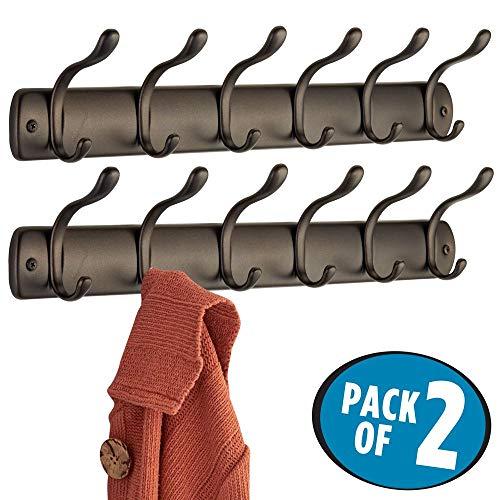 mDesign Perchero de pared con 6 ganchos para colgar ? Colgadores de ropa para recibidor o armario ? Ideal para abrigos, pilotos, chaquetas, chales, ...
