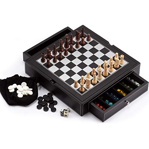 4-in-1 Chess, Checkers, Backgammon and Chinese Checkers Board Game Combo Set