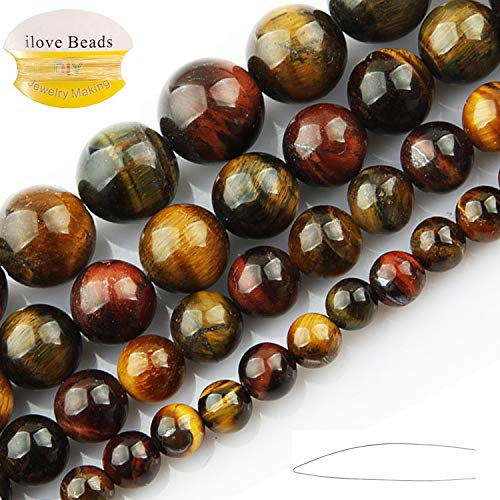 - ILVBD Natural Round Blue Green Rose Gold Red Multi-Color Tiger Eye Gemstone Beads for Jewelry Making (Yellow Blue, 6MM)