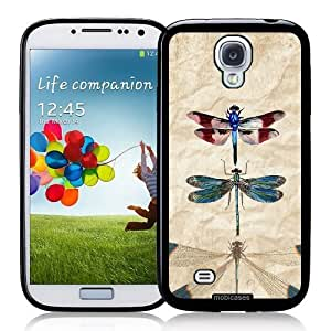 Cool Painting Vintage Dragonflies Retro - Protective Designer BLACK Case - Fits Samsung Galaxy S4 i9500