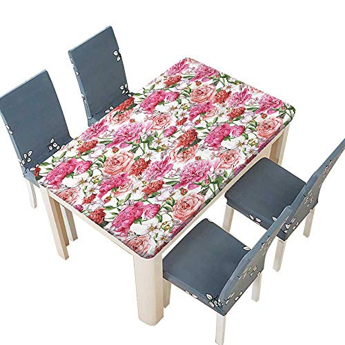(PINAFORE Polyesters Tablecloth Decor Victorian Style Floral Pattern Painting Style Print with Peonies and Roses Pink Wedding Birthday Baby Shower Party W73 x L112 INCH (Elastic Edge))