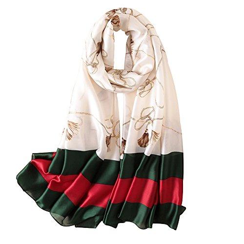 NUWEERIR Womens 100% Mulberry Silk Scarf Long Satin Scarf Fashion Designer Scarf Lightweight - Scarf Gucci