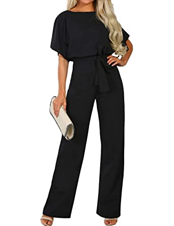 2092281647 ALAIX Women s Elegant Short Sleeve Jumpsuit Loose Wide Leg Long Pants  Rompers Overall with Waistband Black