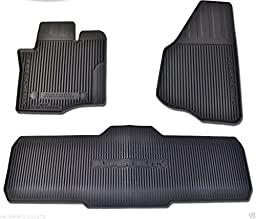 Oem Factory Stock Genuine 2013 2014 2015 Ford Super Duty F-250 F-350 F-450 F-550 Crew Cab Black Ebony Rubber All Weather Floor Mats Set 3-pc Front & Rear