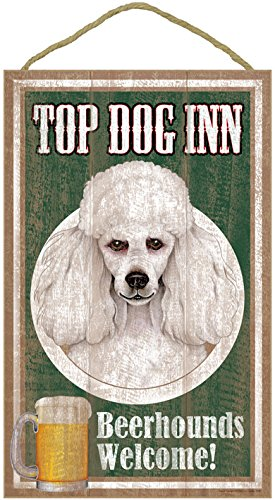 sjt27956-poodle-white-top-dog-inn-10-x-16-wood-plaque-sign