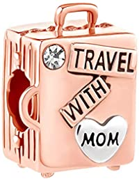 Chirstmas Gift Love Travel with Mom Charm Suitcase Beads for European Bracelet/Rose Gold