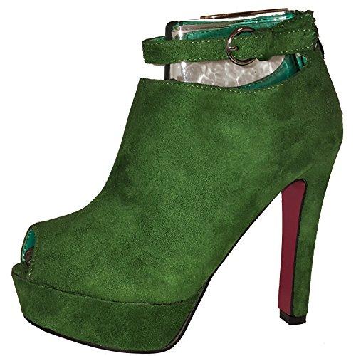 Elegante halbhohe Stiletto Pumps High Heels Stiefel zum Schnüren, braun, pink / rot, grün oder blau, Damenschuhe, STI003, raffiniert geschnitten, Schuh für Damen, ein echter Hingucker-Schuh. Grün