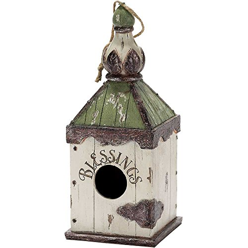 Blessings Green and Cream Distressed Hanging Garden Birdhouse (Distressed Birdhouse)
