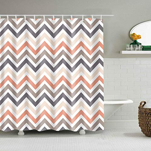 Abstract Geometric Decror Shower Curtain,Modern Chevron Shower Curtain Stall Zig Zag Striped Bath Curtain Art Print,Polyester Waterproof Cloth Bathroom Shower Curtain Machine Washable,72x72 Inch (And Coral Gray Curtain Shower)