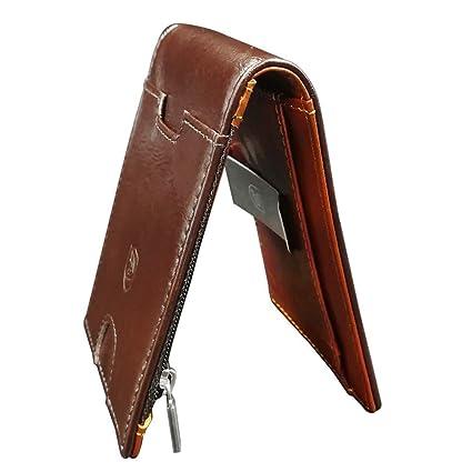 cb40407ea COOLFUN Cartera de Piel para Hombre RFID Que Bloquean el Dinero Clip  Delgado Billetera de Cuero