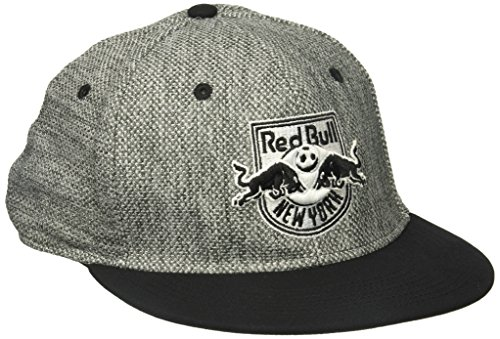 - adidas MLS New York Red Bulls Men's Heathered Gray Fabric Flat Visor Flex Hat, Large/X-Large, Gray
