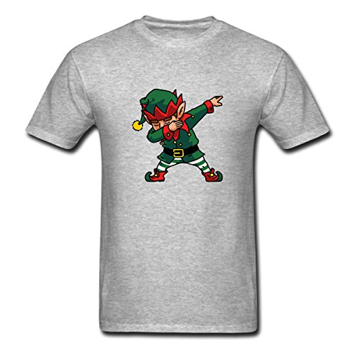 Renting Dabbing Elf Shirt Kids Christmas Gifts Santa Helper Costume t Shirt For Men Cute Cotton Tee Short Sleeve Size L Gray