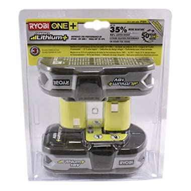 Ryobi P109 18-Volt Lithium-Ion Compact Batteries (Two Pack of P107)