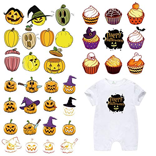 Halloween Patches for Kids Clothes-3 Sets Washable Heat Transfer Iron On Stickers,Appliques with Pumpkin,Sugar Skull,Ghost,Bat,Witch Hat,Cake Patch for DIY Halloween Costume,T-Shirt,Bag(35 Designs)