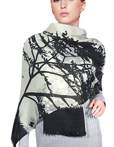Dahlia Women's 100% Merino Wool Pashmina Scarf - Love Tree - Black