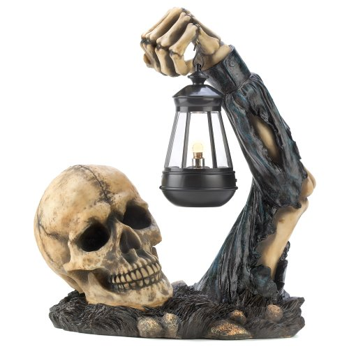gifts decor sinister skull with lantern halloween party decoration - Discount Halloween Decor