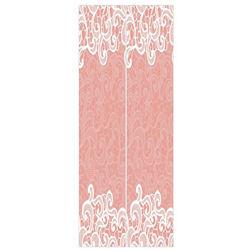 3d Door Wall Mural Wallpaper Stickers [ Peach,Lace Design on Soft Colored Background Ornamental Pattern Wedding Inspired Image,Coral White ] Mural Door Wall Stickers Wallpaper Mural DIY Home Decor