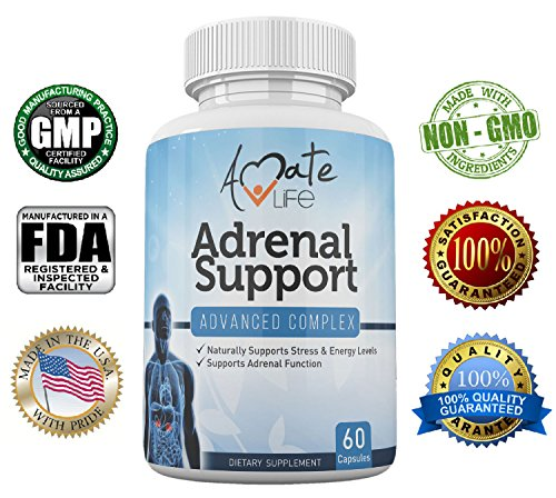 Adrenal Support Advanced Complex – Stress Relief Adrenal Complex – Cortisol Manager- Adrenal Gland Dietary Supplements- Stress Management- Natural Fatigue Relief- 60 Capsules- Non GMO Review