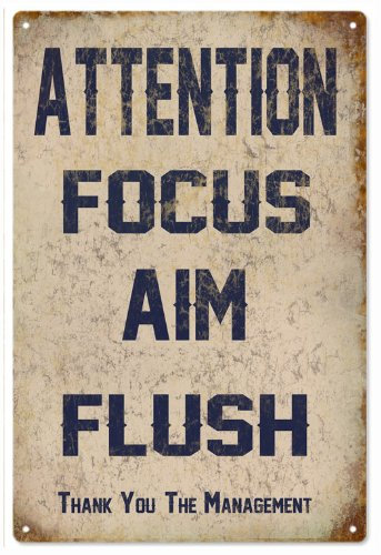 Victory Vintage Signs Attention Focus Aim Flush Garage Art Bathroom Reproduction Sign