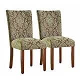 HomePop Parsons Upholstered Accent Dining Chair, Set of 2, Blue and Brown Damask Review
