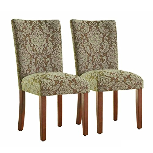 Kinfine Parsons Upholstered Accent Dining Chair, Set of 2, Blue and Brown Damask Cherry Fabric Ottoman