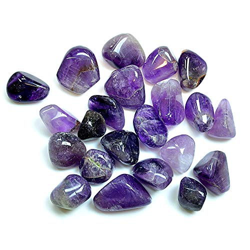 Tumbled Amethyst Stones Set (1/2lb) - Bulk Assorted, Polished, Reiki Chakra Healing, Natural Gemstones from India - Home Décor, Arts and Crafts by Ever Vibes from Ever Vibes