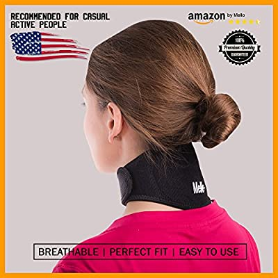 Neck Pain Relief Wrap by Mello-Chronic Neck Stiffness Brace-Soft Cervical Support Collar-Health Magnet Physical Therapy for Migraines, Headaches-Comfortable Air, Car Travel