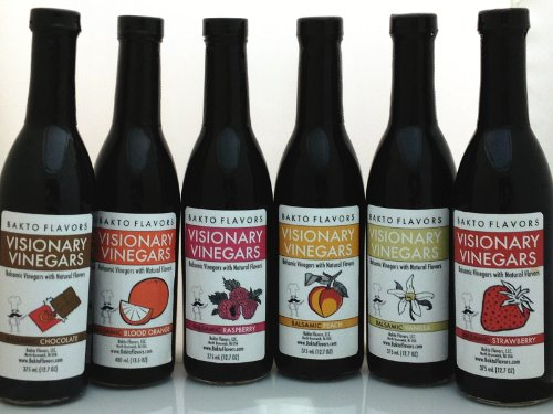 Visionary Vinegars - Kosher Balsamic Vinegars with Natural Flavors - 12.7 FL OZ - (Set of 6), Blood Orange, Chocolate, Peach, Raspberry, Strawberry ()