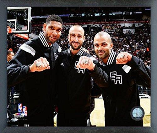 (NBA Tony Parker, Tim Duncan, Manu Ginobili San Antonio Spurs 2014 Champions Ring Photo (Size: 12