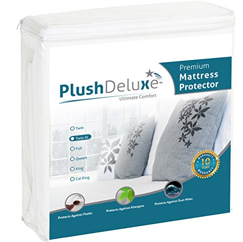 PlushDeluxe Premium 100% Waterproof Mattress Protector Hypoallergenic, Vinyl Free, Breathable Soft Cotton Terry Surface , 10 Year Warranty, Twin X-Large