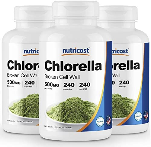 Nutricost Chlorella Capsules 3 Bottles 500mg, 240 Capsules