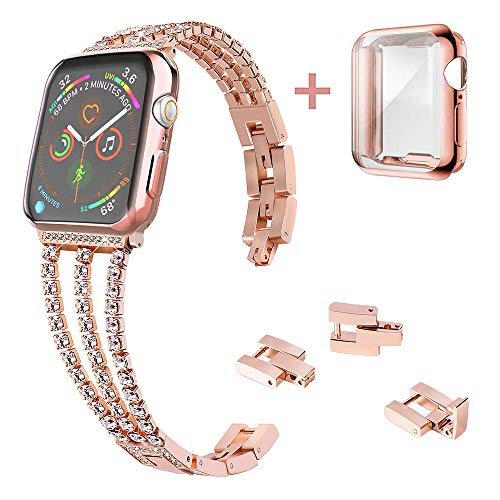 KoudHug Adjustable Bracelet with Case Compatible for 38mm 40mm Apple Watch Bands 42mm 44mm Women Rose Gold Three-Chain Crystal Jewelry Wristband and Screen Protector for iWatch Series 4 3 2 1