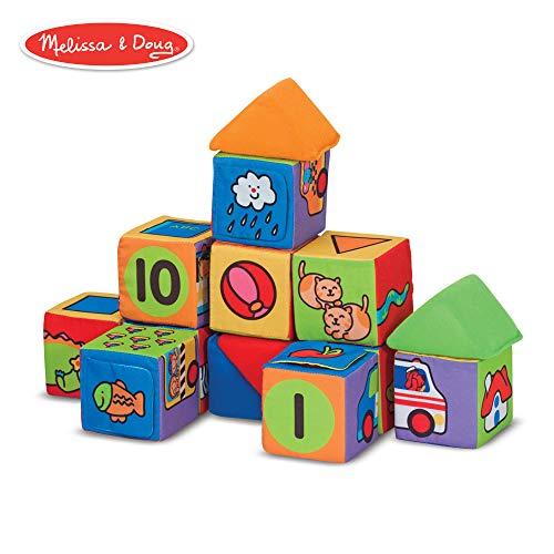 Melissa & Doug Match & Build Soft Blocks (Developmental Toys, Multiple Activities, Lightweightpiece, Develops Multiple Skills, 14Piece)