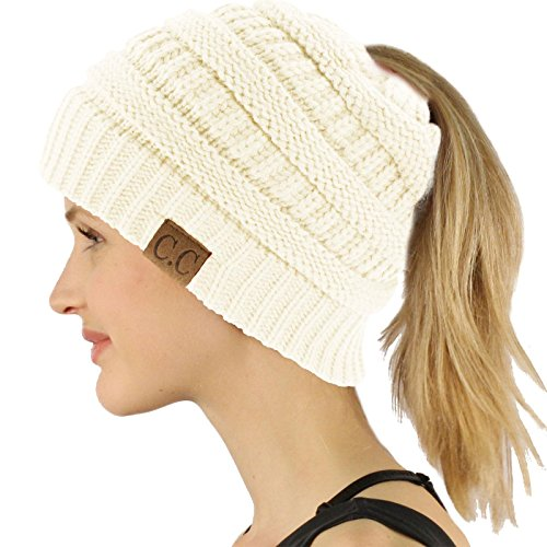 (Ponytail Messy Bun BeanieTail Soft Winter Knit Stretchy Beanie Hat Cap Solid Ivory)
