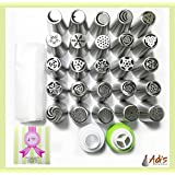 Adi's Baking Products Russian Piping Tips - Stainless Steel Icing Nozzles Decorating Tools for Cakes, Pies - Includes 25PCS Set, 20 Disposable Bags, One Tricolor Coupler, Single Color Coupler