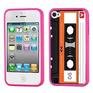One Tough Shield ? Hybrid Flexible/Rigid Phone Case (Pink Bezel) for Apple iPhone 4 4S - (Cassette Orange)