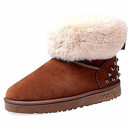 ZHUDJ Chaussures Pour Femmes Automne Hiver Des Bottes D'Talon Plat Bottes Bout Rond Pour Rivet Noir Gris Brun Décontracté Brown zTREshSrHK